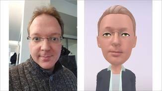 So sieht Andreas auf einem Galaxy-S9-Selfie und als AR-Emoji aus.