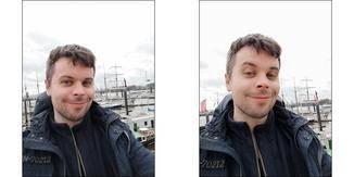 Selfies mit der Frontkamera lassen sich per Beauty-Filter verunstalten.