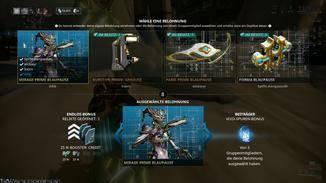 Nach der Mission wird abgerechnet und alle Spieler öffnen ihre Relikte. Wir haben hier Glück: Unsere Mirage-Prime-Blaupause wollen auch alle unsere Mitspieler haben. Dafür bekommen wir zusätzliche Void-Spuren (unten rechts).