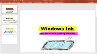 Dank Windows Ink lassen sich sogar Powerpoint-Präsentationen verschönern.