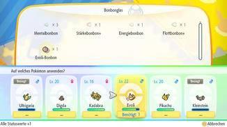 Bonbons machen Pokémon stärker – weitgehedn losgelöst von deren tatsächlichen Werten.