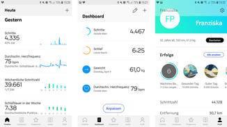 Die App bietet alle Messdaten wahlweise in einer Timeline oder auf einem Dashboard.