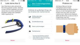 Die Fitbit-App leitet Dich wie gewohnt bequem durch die Einrichtung des Ace 2.