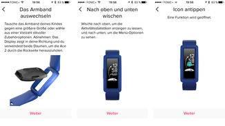 Während der Kinder-Fitness-Tracker eingerichtet wird, liefert die App Dir Erklärungen zur späteren Benutzung.