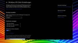 """In den """"Windows HD Color-Einstellungen"""" siehst Du, für welche Anwendungen der Monitor HDR-geeignet ist."""