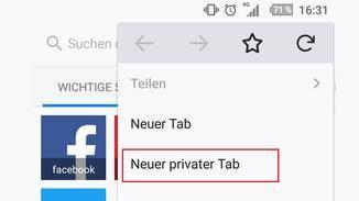 """Anschließend musst Du auf """"Neuer privater Tab"""" klicken."""