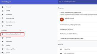 """...klicke auf """"Erweitert"""" und """"Datenschutz und Sicherheit""""..."""