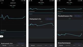 In der Health-Mate-App werden mir die Messwerte übersichtlich untereinander dargestellt.