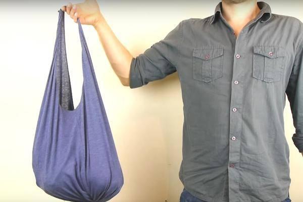 diy praktische tasche aus einem alten t shirt basteln. Black Bedroom Furniture Sets. Home Design Ideas