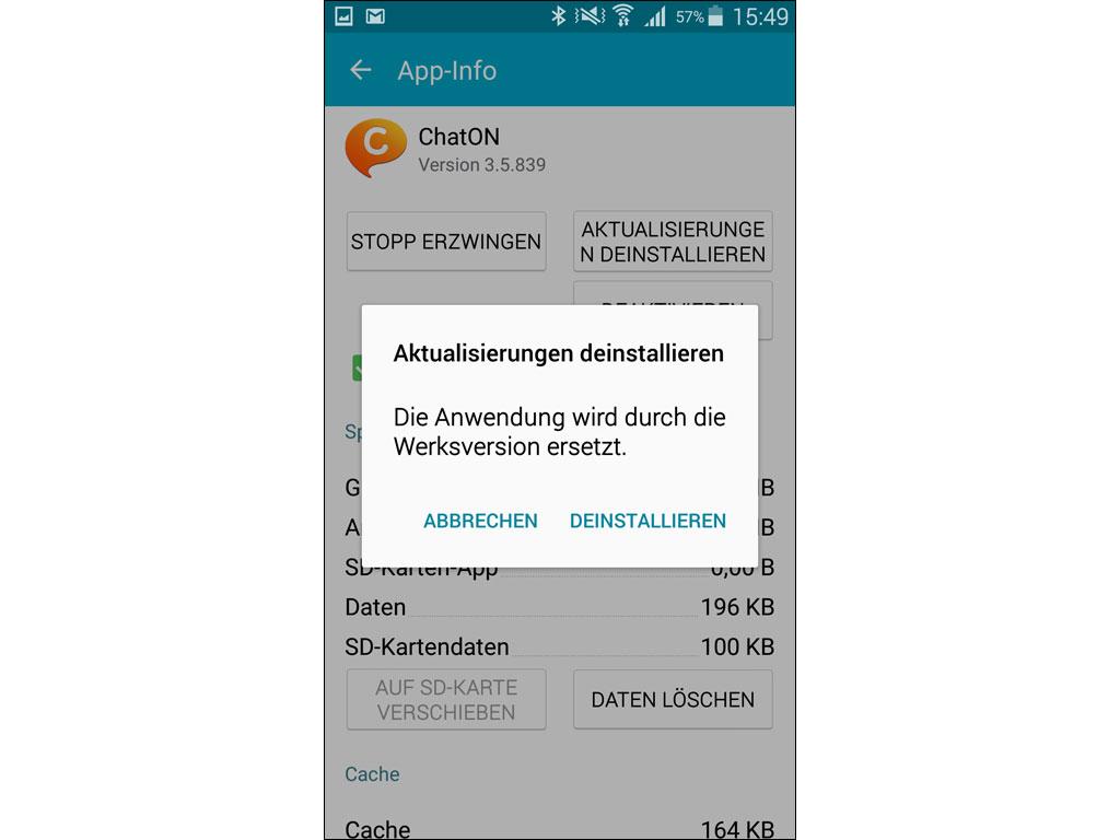 app deinstallieren android onex