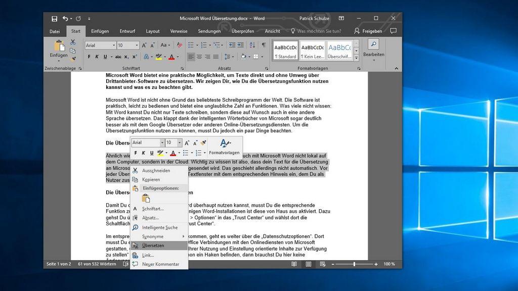 Microsoft Word So Kannst Du Text Im Dokument übersetzen