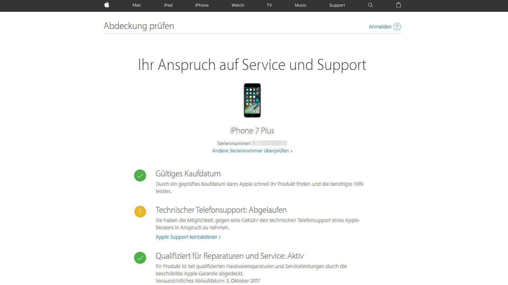 Apple garantie abfragen